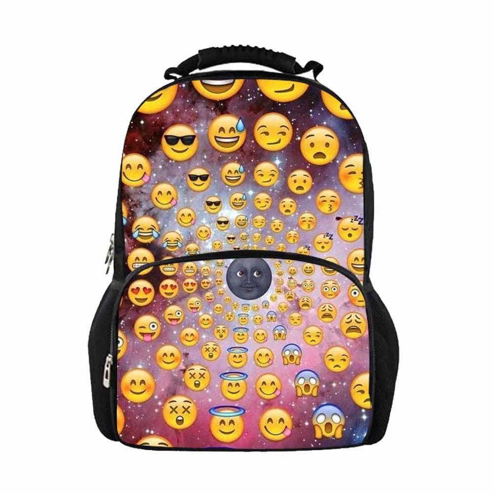 57cd5b03f29e Школьные рюкзаки для девочек подростков смешные печати Emoji ноутбук ...