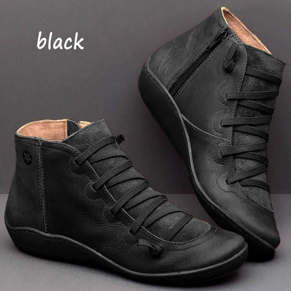 Women/'s Winter Autumn Arch Support Ankle Boots Side Zip Wedge Heel Flat Shoes UK