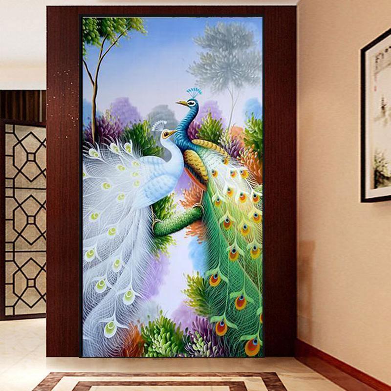 5D Full Drill DIY Diamond Peacock Painting Cross Stitch Kits Room Decor Gift CN
