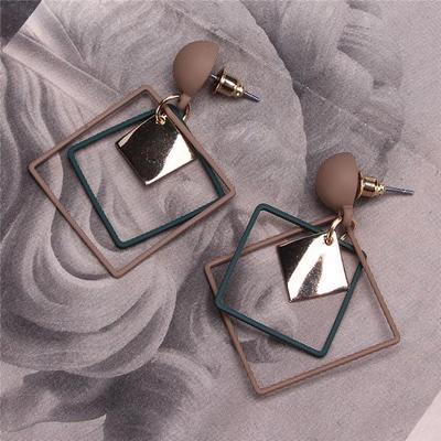 Fashion Korean Metal Drop Earrings Women Multi Geometry Square Presentation Earrings Gifts Jewelry