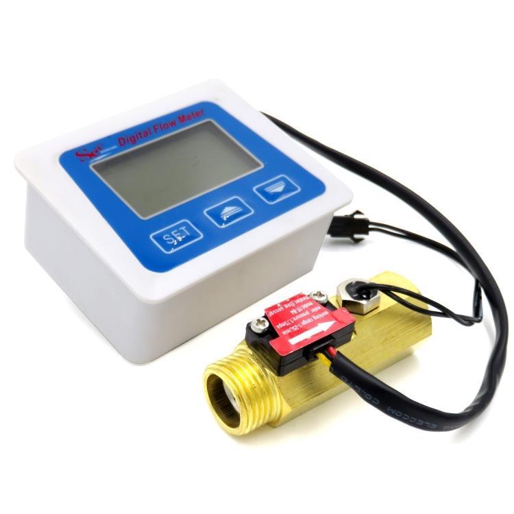 Digital Flow Meter Water Temperature Flowmeter Time Record with G1//2 Flow sensor