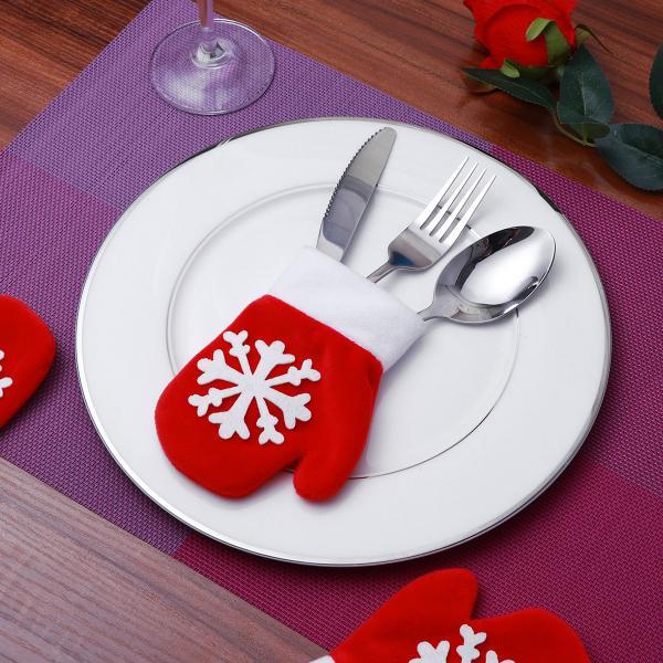 12Pcs Xmas Tableware Silverware Holder Socks Cutlery Pouch Christmas Table Decor