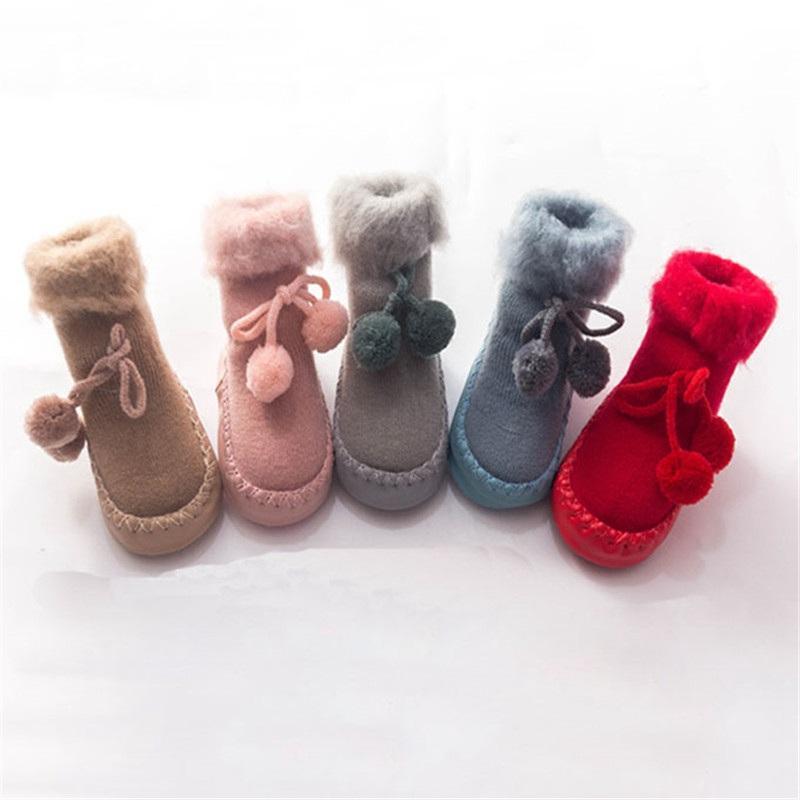 Kids Baby Girl Boy Toddler Thick Coral Fleece Socks Anti-slip Shoes Winter Warm