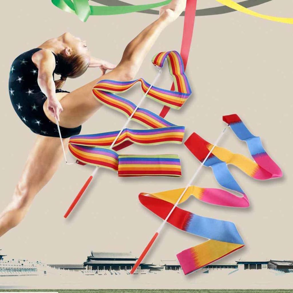 1pc Rainbow Dance Ribbon Children Toy Gym Ballet Streamer Cheerleading Props