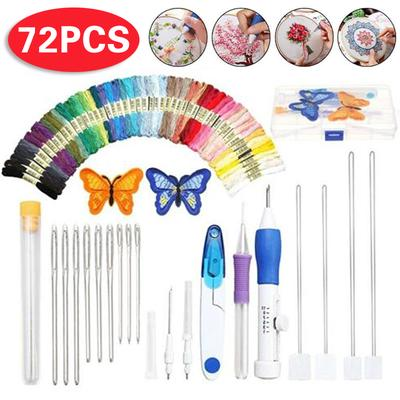2 Sets Wooden Handle Embroidery Pens Sewing Embroidery Punch Needle Weaving Tools for DIY Craft