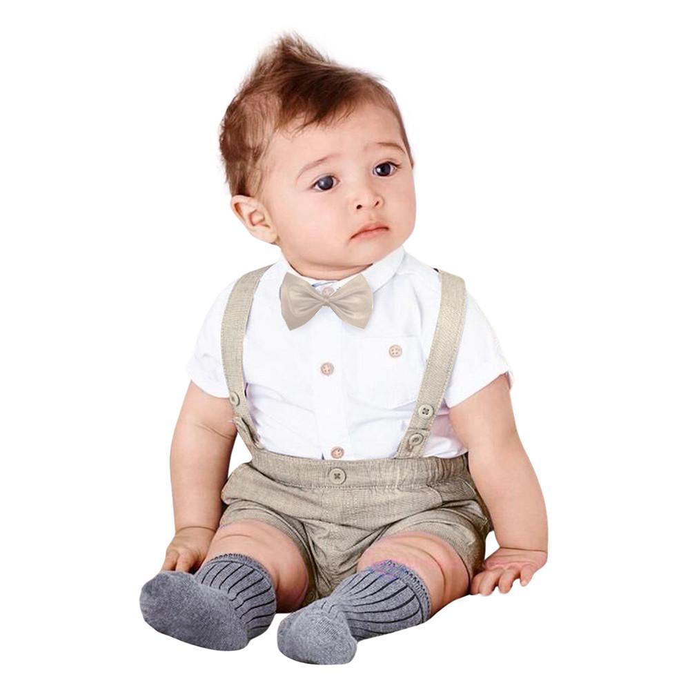 Kids Baby Infant Boys Summer Gentleman Bowtie Shirt Romper+Suspenders Shorts Set