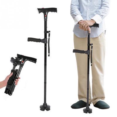 Magic Cane Folding Safe Walking Stick For Old Man Tool Auxiliary Handle Black WE