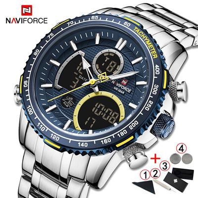 Luxury Mens Watches Fashion Sport Chronograph Top Brand Quartz Digital Watch Full Steel Big Dial Male Wristwatch