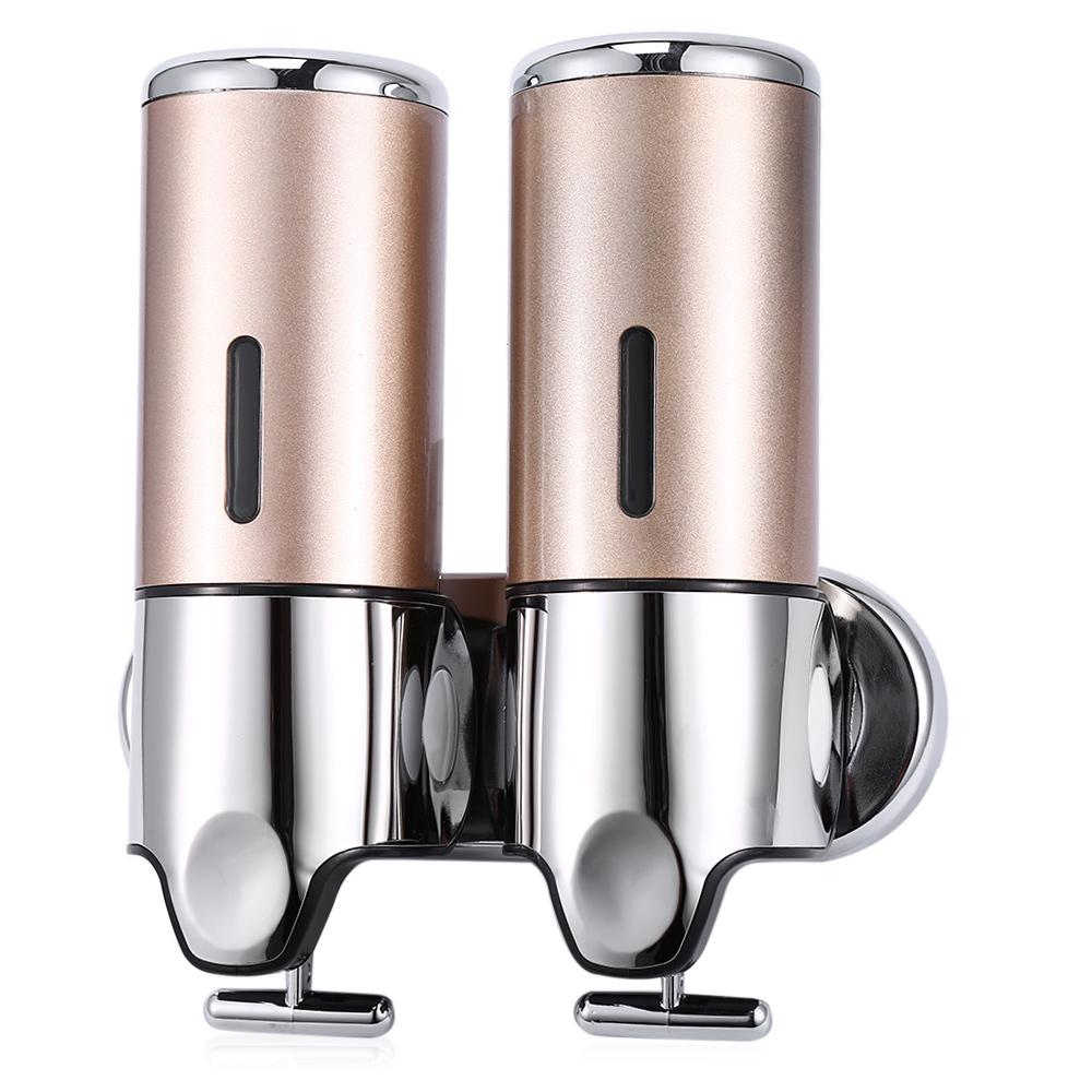 Stainless Steel Double Wall Mount Shower Pump,2 x 500ml Shampoo Soap Dispensers