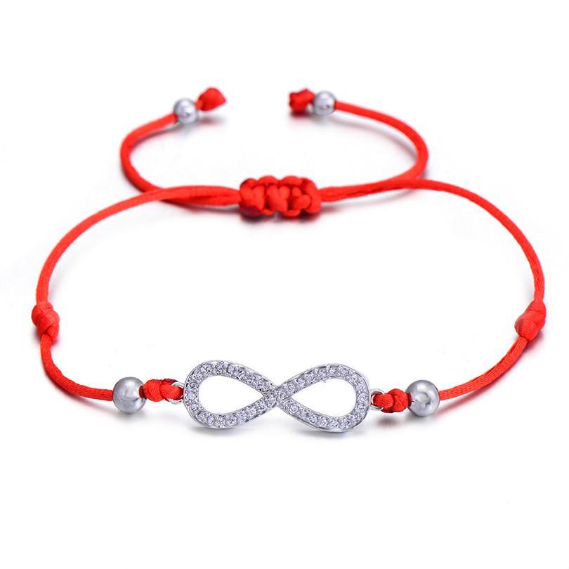 Para el tobillo de plata Pulsera Infinity Rojo Cuerda Kabbalah Suerte