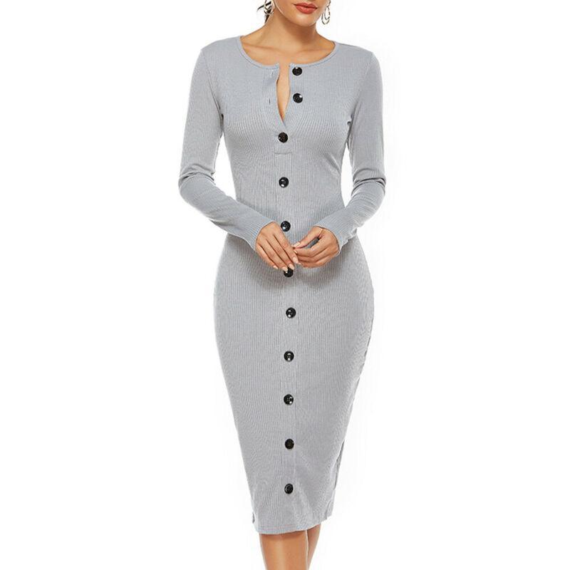 Women Slim Buttons Dress Bodycon Sweater Hem Split Ball Gown Solid Midi Dresses