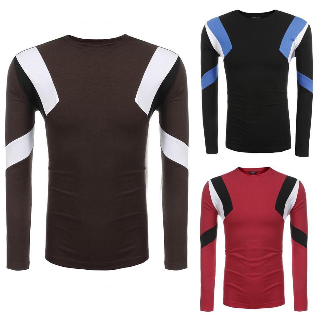 SportsX Mens Long Sleeve 3 Button Down Stripes Splice Pullover Tees Top