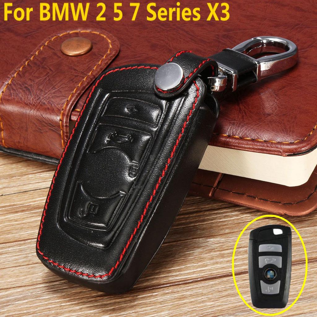 For BMW Remote Smart Key Fob Leather Holder Bag Cover Case X1 X5 X6 1 3 5 Series