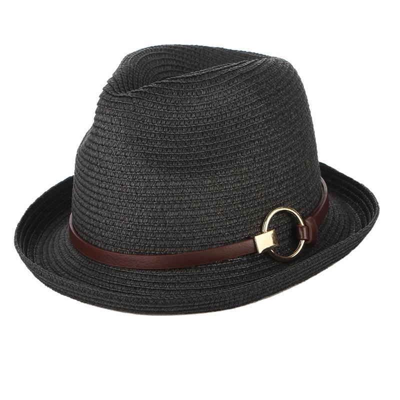 60d53d541550d Chapéus de verão para as mulheres homens palha chapéu com cinto praia  chapéu Jazz Fedoras tampão do sol
