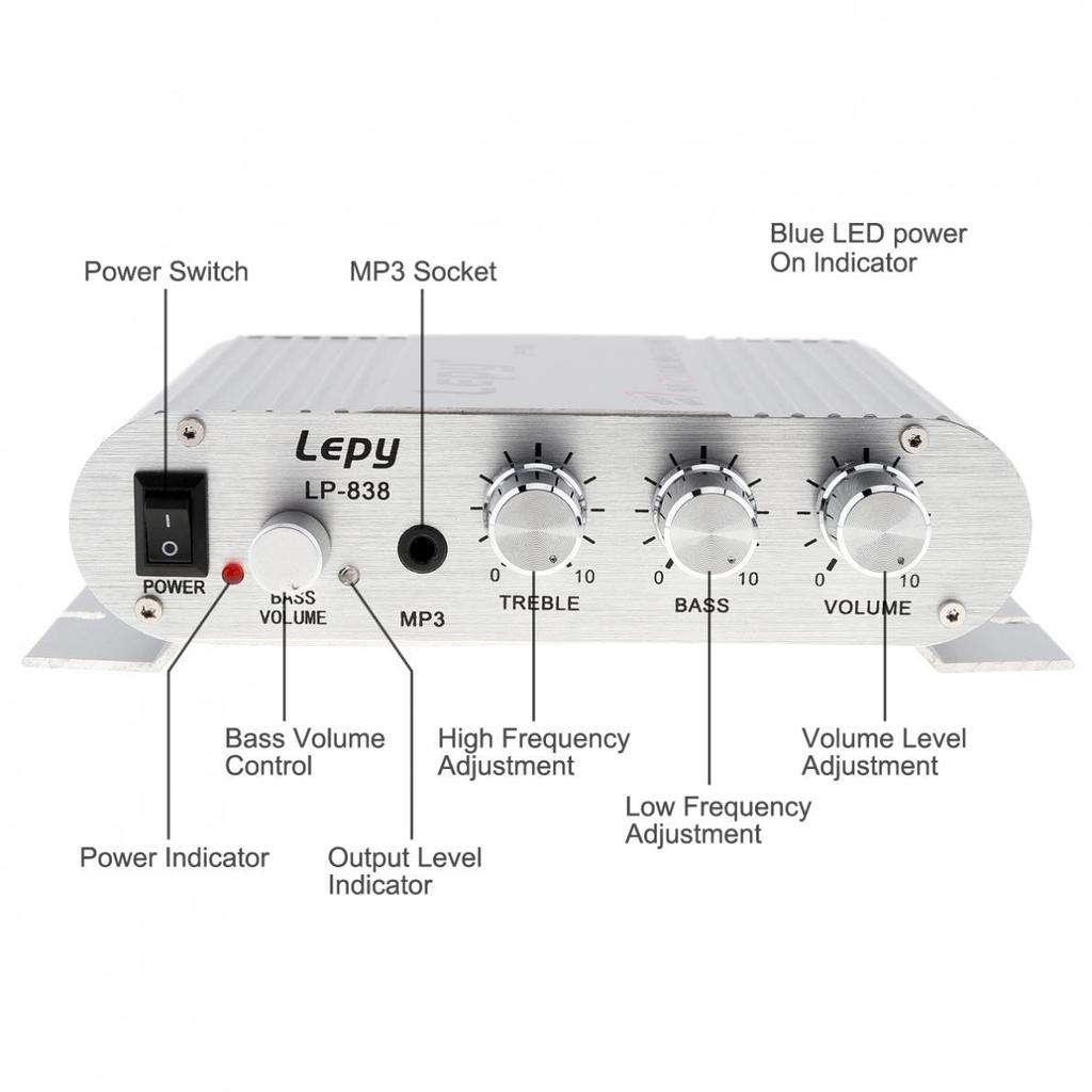 12v Mini Hi Fi Amplifier Booster Radio Mp3 Stereo For Car Motorcycle Bass Treble Circuit 2 Of 11