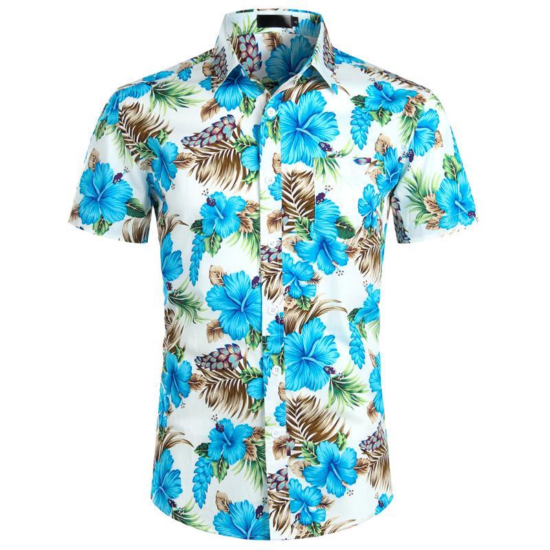 Mens Hawaiian Shirts Summer Holiday Short Sleeve Blouse Beach Button T Shirt Top