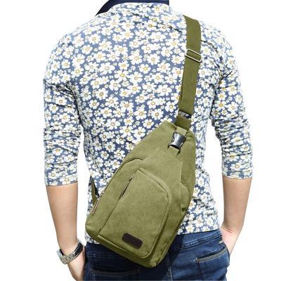 Outdoor Fashion Men Canvas Messenger Shoulder Sling Bag Chest Bag Travel Bag