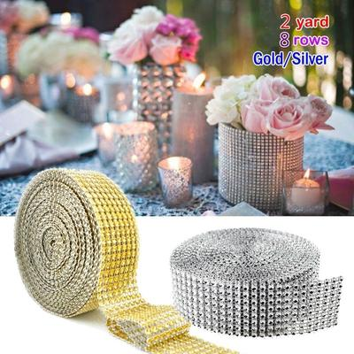 Diamond Ribbon Silver Acrylic Sparkling Crystal Bling Rhinestones Mesh Wrap for Wedding Decorations Party Supplies
