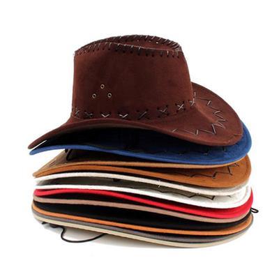 Brown Stressed Leather Effect Cowboy Hat Mens Ladies Wild Western Fancy Dress