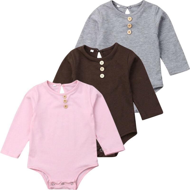 Babywow Infant Baby Boys Girls Cute Letter Printed Romper Long Sleeves Bodysuit Jumpsuit Outfit