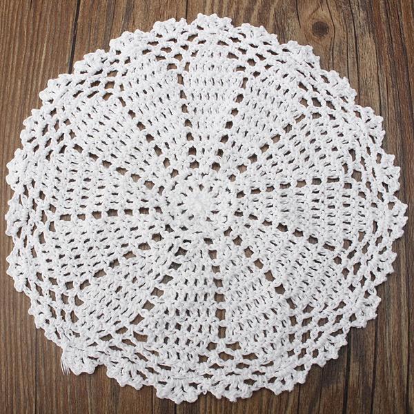 Blanco 20cm algodón hilados mano Crochet encaje tapete mantel ...