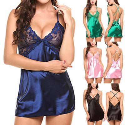 Women Babydoll Lingerie Lace Chemise V Neck Split Nightwear Teddy Mini Dress