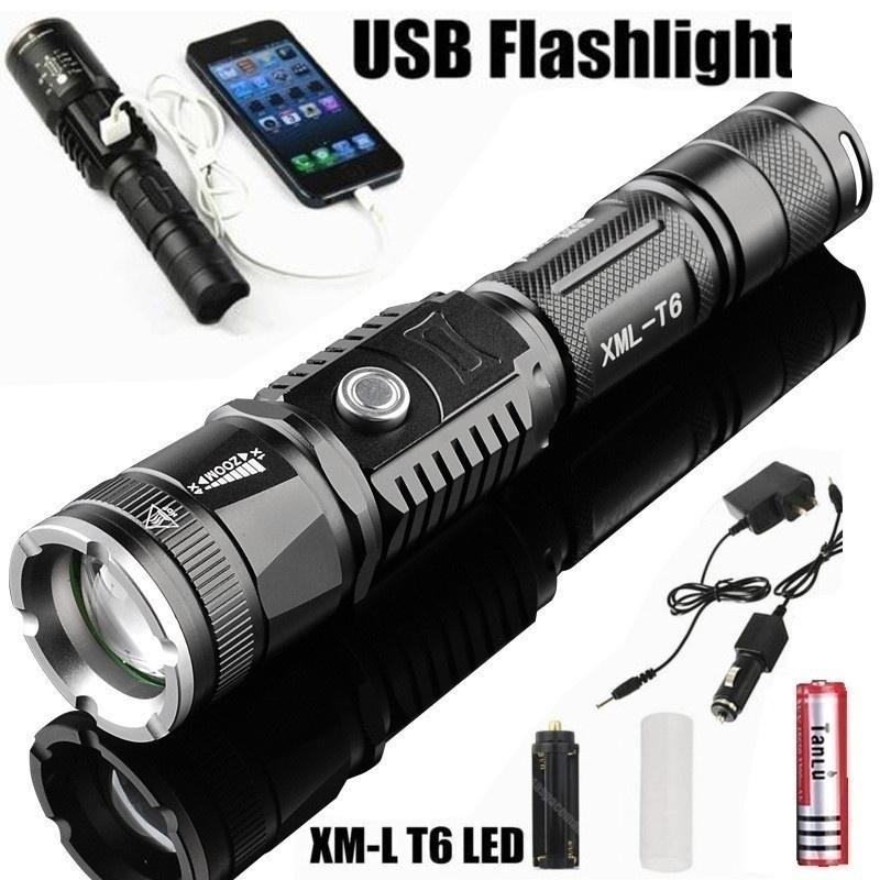 50000LM T6 LED Rechargeable High Power Torch Flashlight Lamp Light Charger