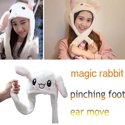 LED Glow Rabbit Ear Hat Bunny Plush Beanie Cap Moving Ears Party Toy Kids Gift