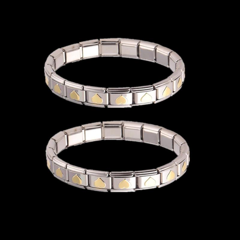 Crystal CZ Silver Stainless Steel Couples Bracelet Simple Open Cuff Bangle