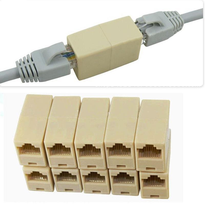 10x RJ45 CAT5 Network Cable Line Connector Adapter Extender Plug Coupler Joiner