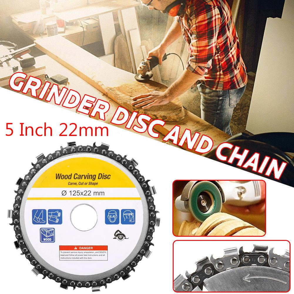 5 Inch Grinder Chain Disc 22mm Arbor 14 Teeth Wood Carving Disc For 125mm