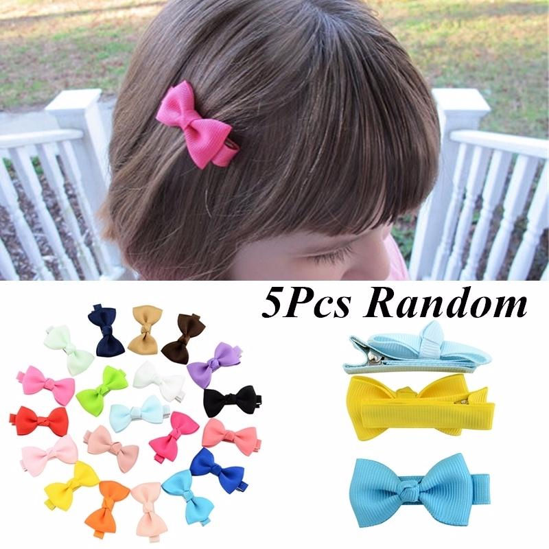 10 pcs Solid Bow Ribbon Flower Hair Clip Hairpins for Baby Kids Children Girls