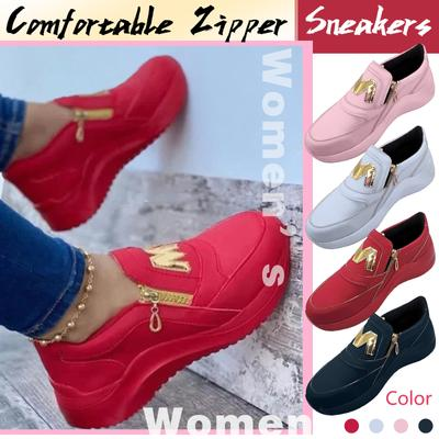 [Coconut Tree] Women's Fashion Casual Comfortable Wedges Zipper Sneaker Running Shoes
