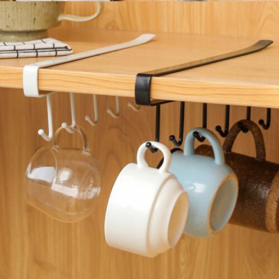 6 Hooks Metal Under Shelf Mug Cup, Kitchen Cupboard Hanging Shelf