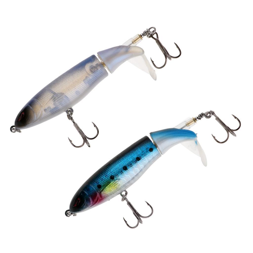 5PCS//Lot 11cm//15g Pencil Bait Rotating Tail Top Water Popper Fishing Lure Bass