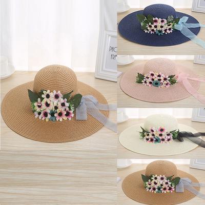 c1f825e317e Women Beach Straw Hat Jazz Sunshade Panama Trilby Fedora Hat Gangster Cap