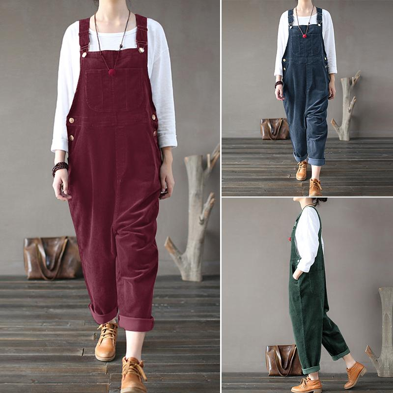 Womens Corduroy Harem Dungarees Overall Playsuits Suspenders Jumpsuits Plus Size