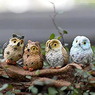 4pcs Cute Owls Resin Miniatures Style Decoration