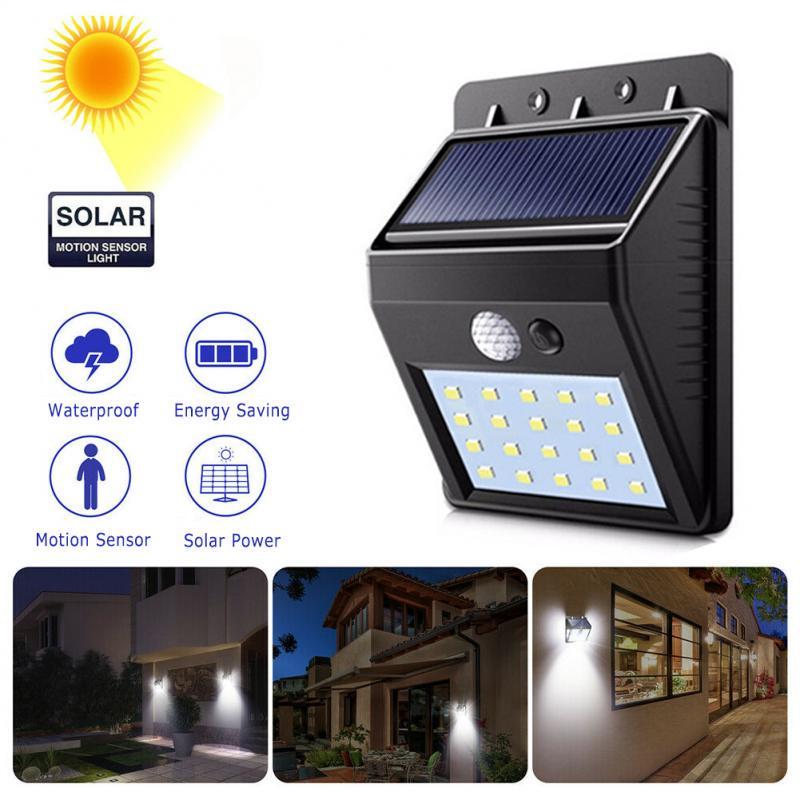 Waterproof 20 LED Solar Power PIR Motion Sensor Wall Light Outdoor Garden Lamp