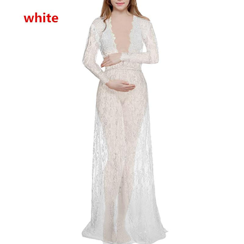 Maternity Pregnant Womens V Neck Lace Maxi Dress Gown Photography Photo Props
