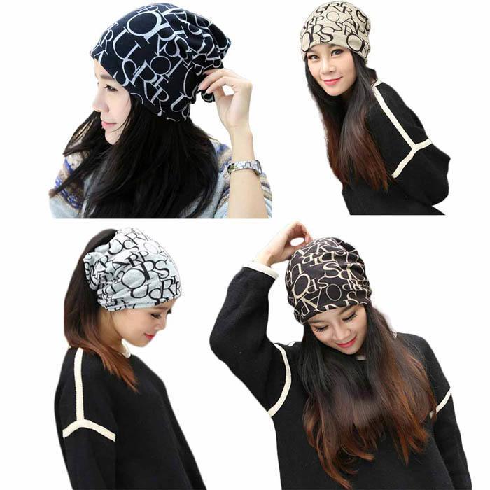 新款秋冬帽子女户外防风保暖护耳包头帽字母套头帽头巾帽围脖