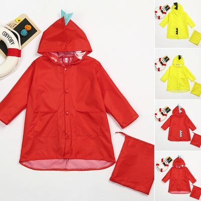 Stylish Kids Lightweight Rainwear Rain Jacket Dinosaur Raincoat Boys Girls Tops