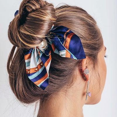 Sweet Women Fashion Satin Ribbon Bow Hair Band Rope Scrunchie Ponytail Holder