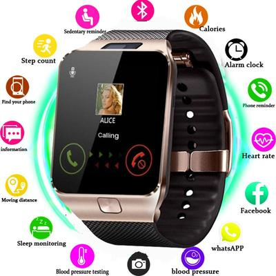 The DZ09 smartwatch with a 1.54 inch screen, a SIM-slot and a built-in camera