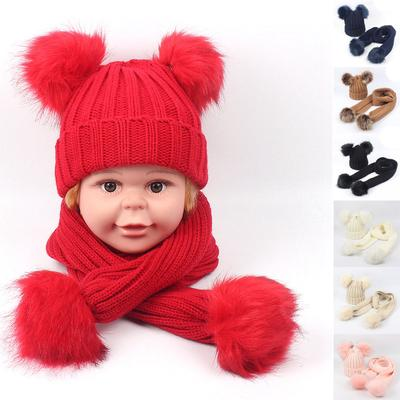 Trendy Gesdy Baby Girls Knitted Hat Scarf Set Boys Kids Warm Detachable  Double Faux Fur Pom aa609bffd47a
