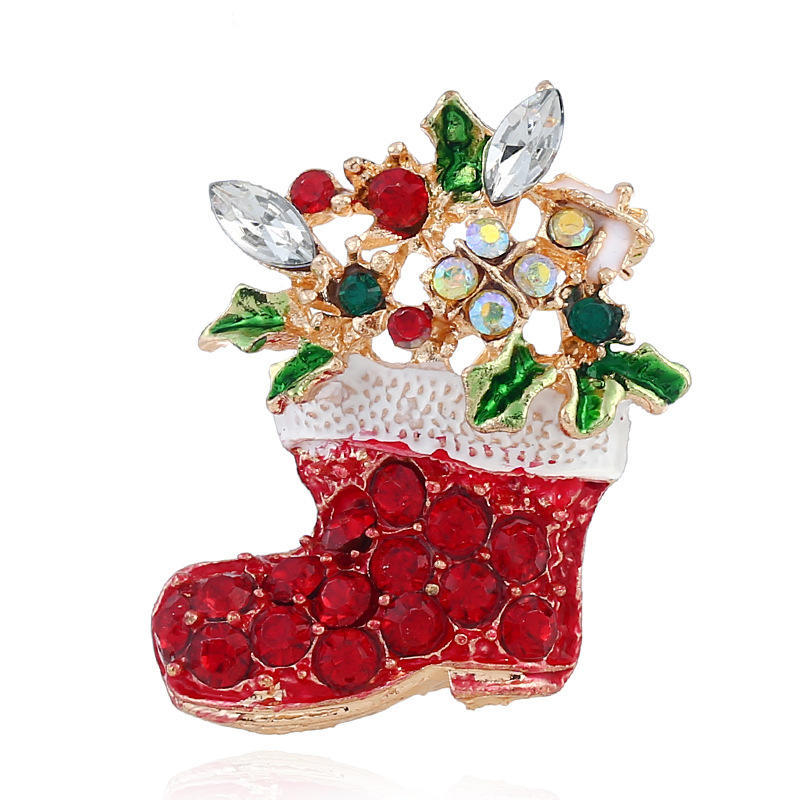 Creative Brooch Pin Clothing pins holiday accessories Badge Pin Lapel Pin gold Christmas socks diamond brooch