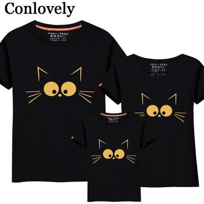3388092f17 Familia establece T verano lindo gato papá y mí ropa madre niños camisa  camiseta madre hija