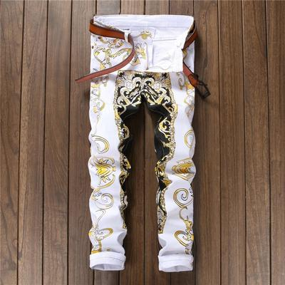 d478e9cb91 Discoteca pantalones Stretch Jeans Slim impresión flor pantalones moda  personalidad de hombres
