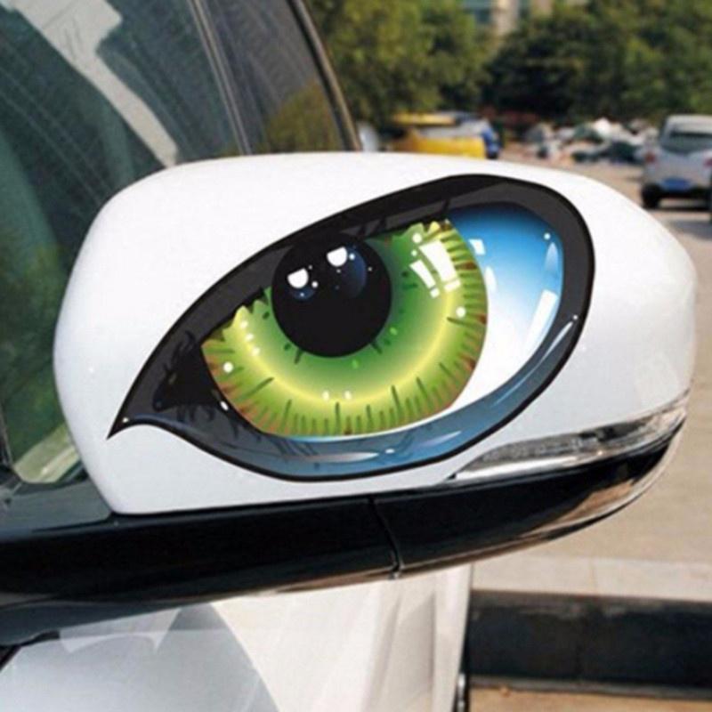 Наклейка 3D на зеркало заднего вида в виде кошачьего глаза фото