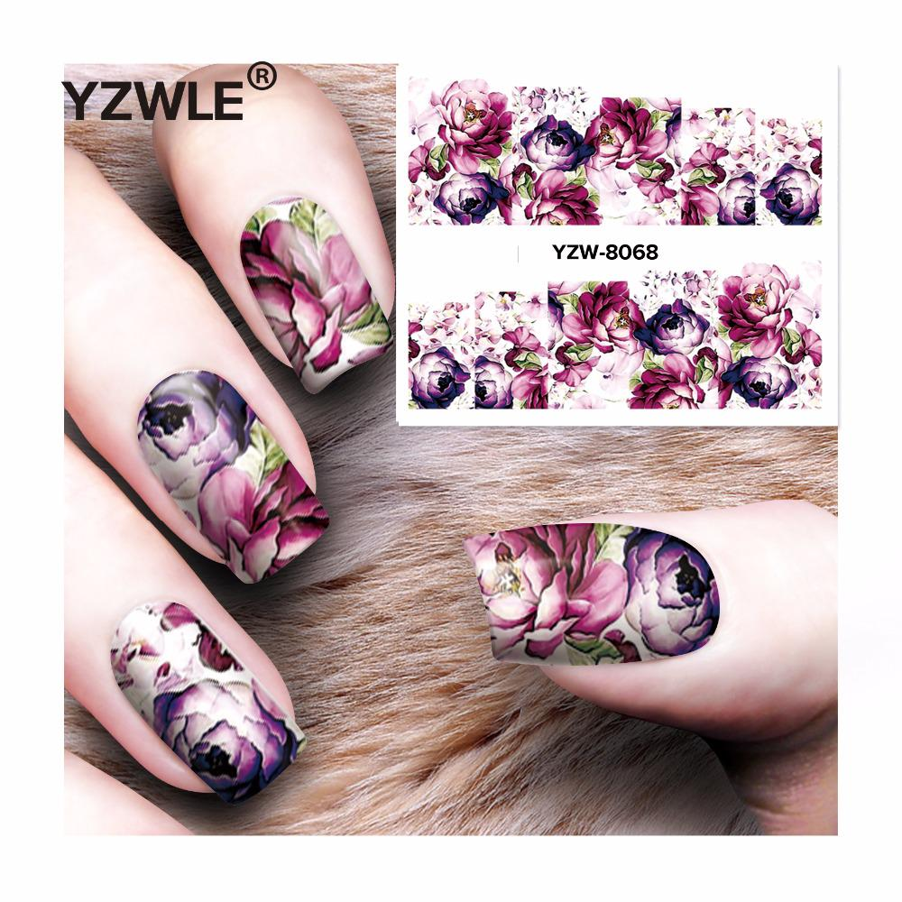 For Sheet DIY Decals Purple Rose Nails Art Water Transfer Printing ...